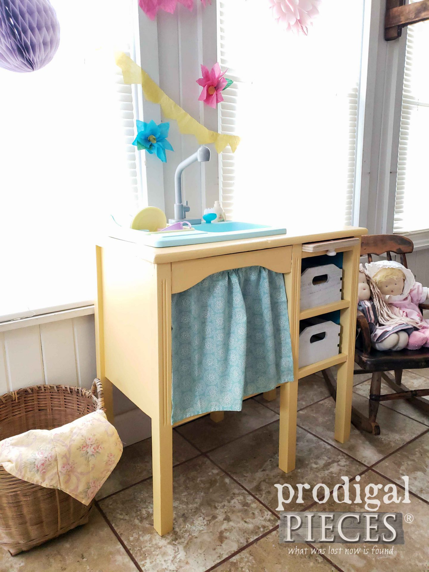 Cottage Chic Upcycled Play Kitchen with Running Faucet by Larissa of Prodigal Pieces | prodigalpieces.com #prodigalpieces #diy #handmade #kids #toys