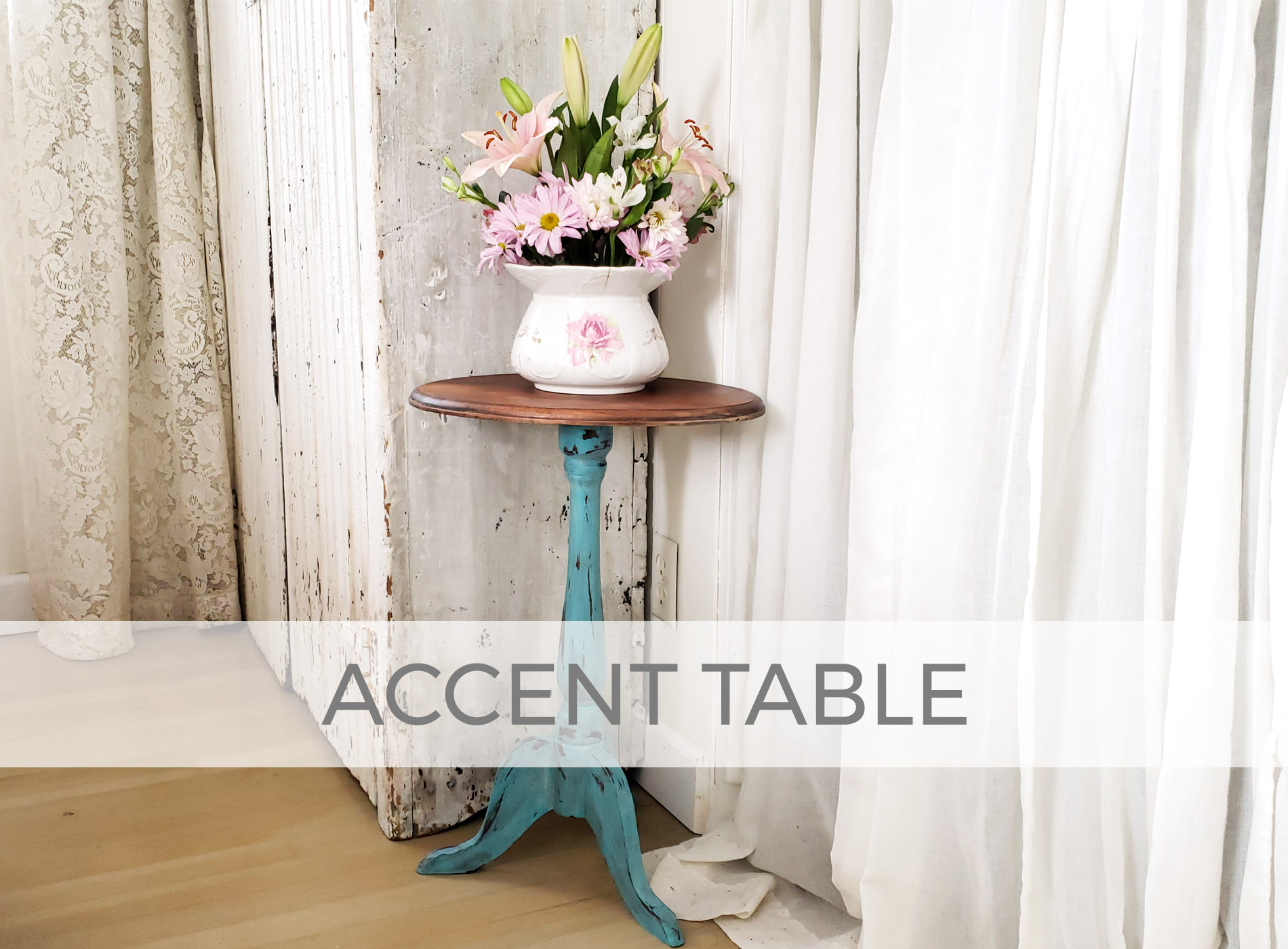Vintage Accent Table in Aqua by Prodigal Pieces | prodigalpieces.com