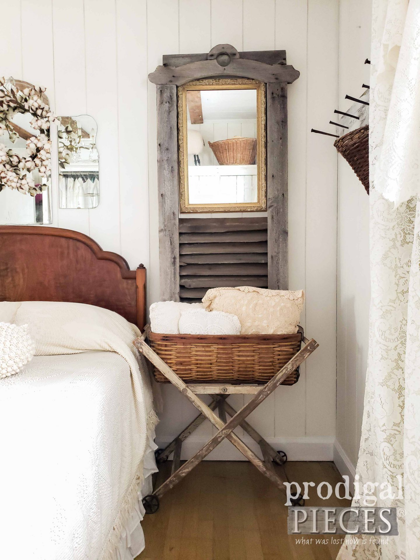 Antique Barn Vent with Mirror as Decor by Larissa of Prodigal Pieces | prodigalpieces.com #prodigalpieces #home #bedroom #farmhouse #homedecor