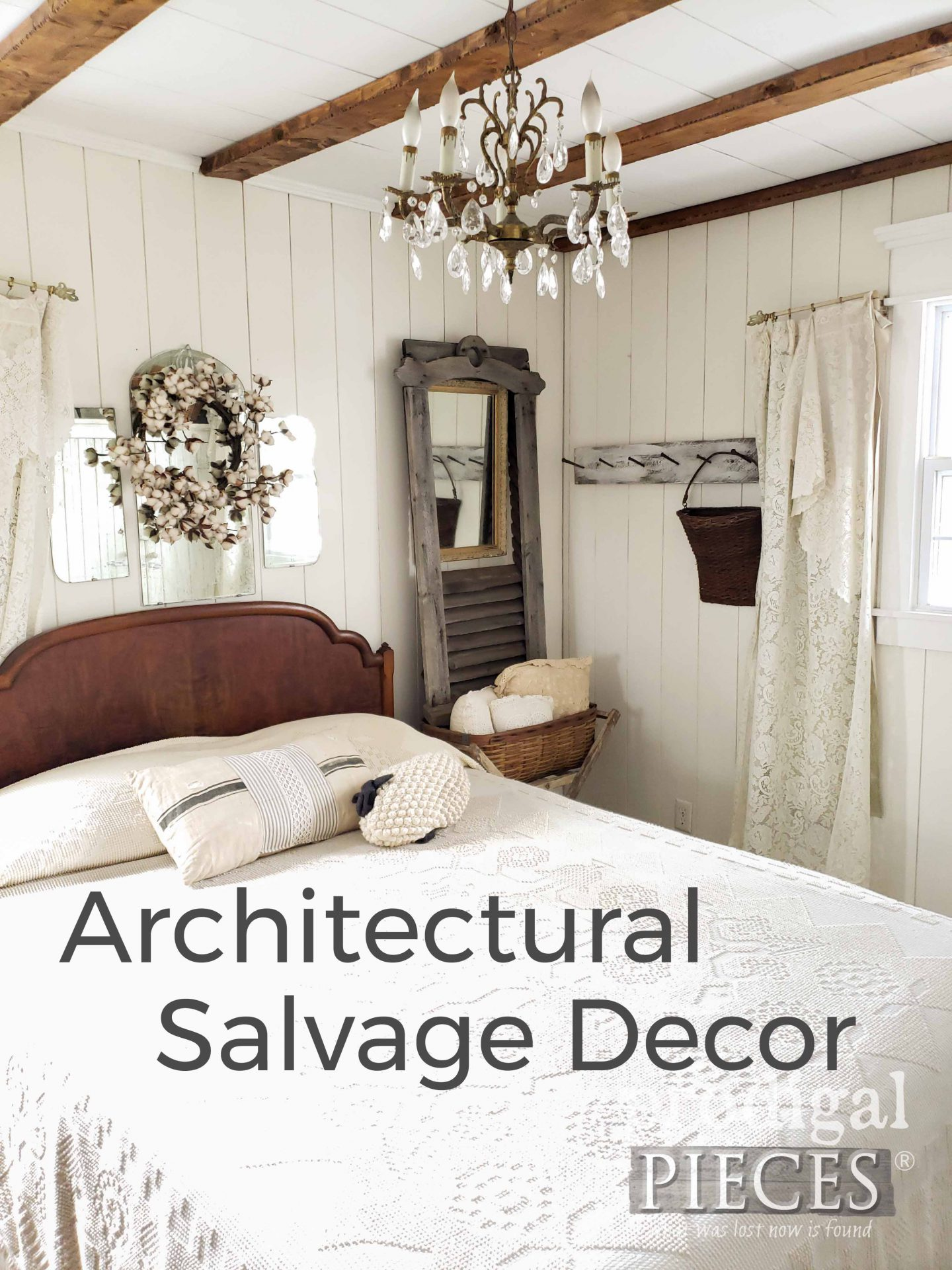 Architectural Salvage Decor in Farmhouse Bedroom by Larissa of Prodigal Pieces | prodigalpieces.com #prodigalpieces #home #homedecor #farmhouse #bedroom