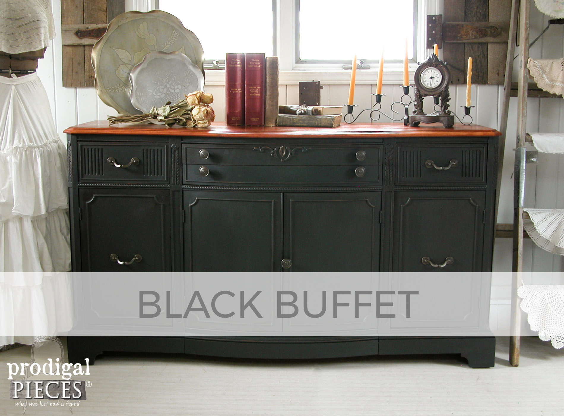 Antique Buffet in Black by Larissa of Prodigal Pieces | prodigalpieces.com