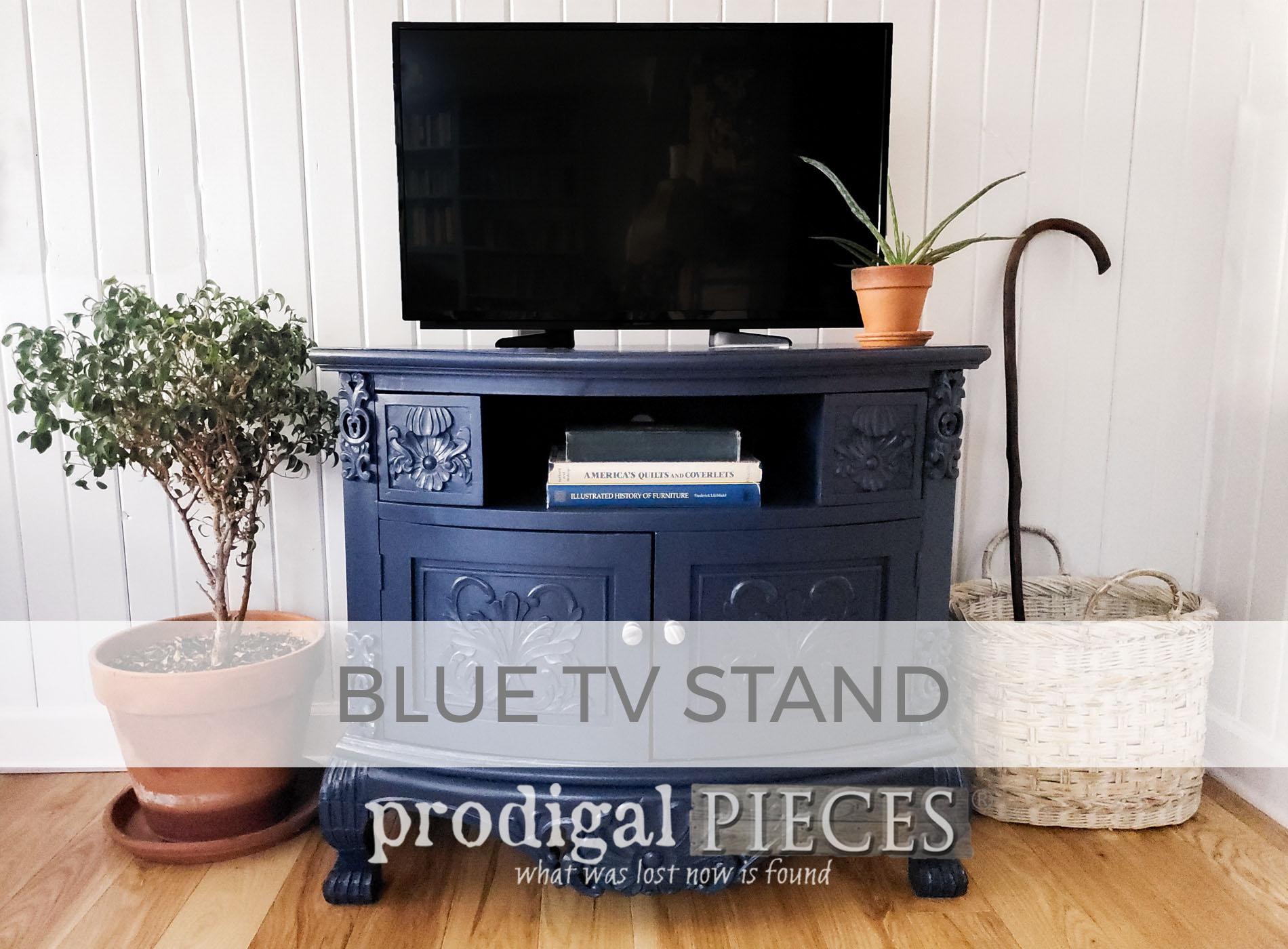 Blue TV Stand Makeover by Larissa of Prodigal Pieces | prodigalpieces.com