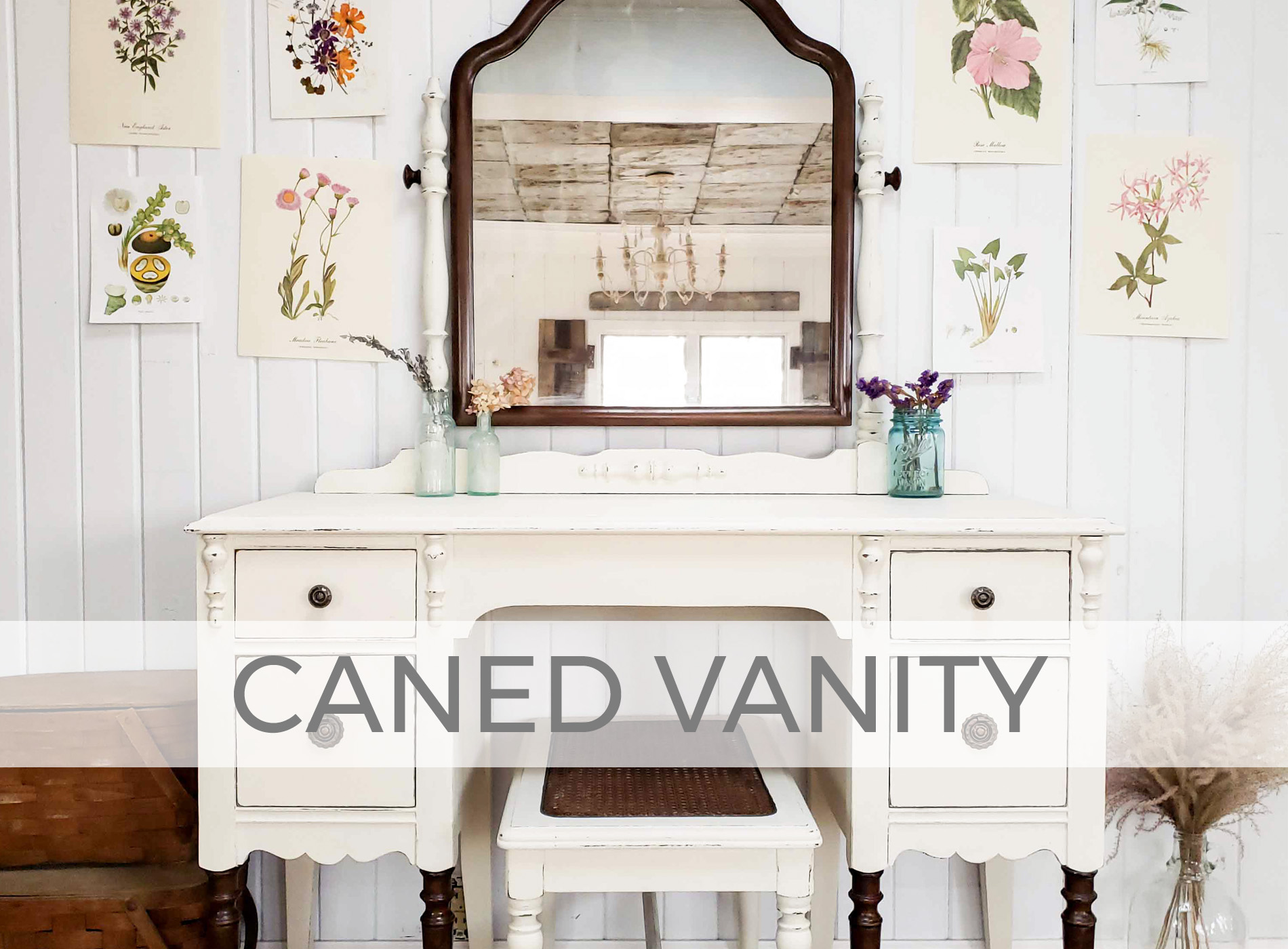 Antique Vanity with Caned Bench by Larissa of Prodigal Pieces | prodigalpieces.com #prodigalpieces #diy #furniture #farmhouse