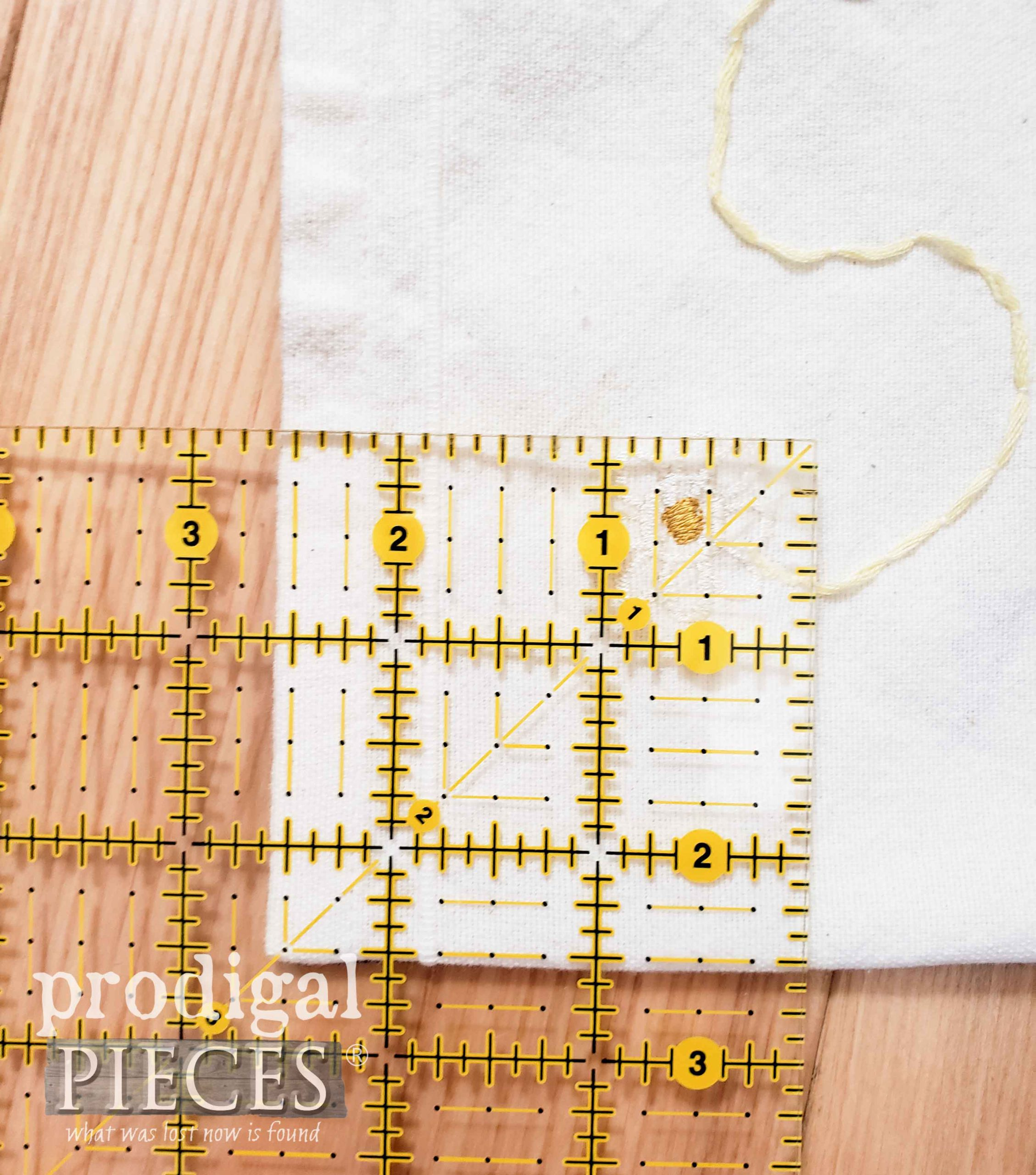 Cutting Boxed Corners for Refashioned Tea Towel Bag | prodigalpieces.com
