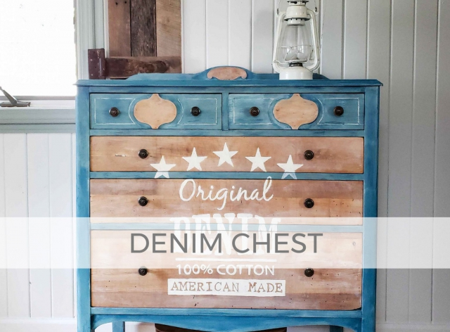 Antique Chest of Drawers with Denim Design by Larissa of Prodigal Pieces | prodigalpieces.com #prodigalpieces