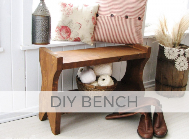 Build this farmhouse wooden bench with plans by Larissa of Prodigal Pieces | prodigalpieces.com