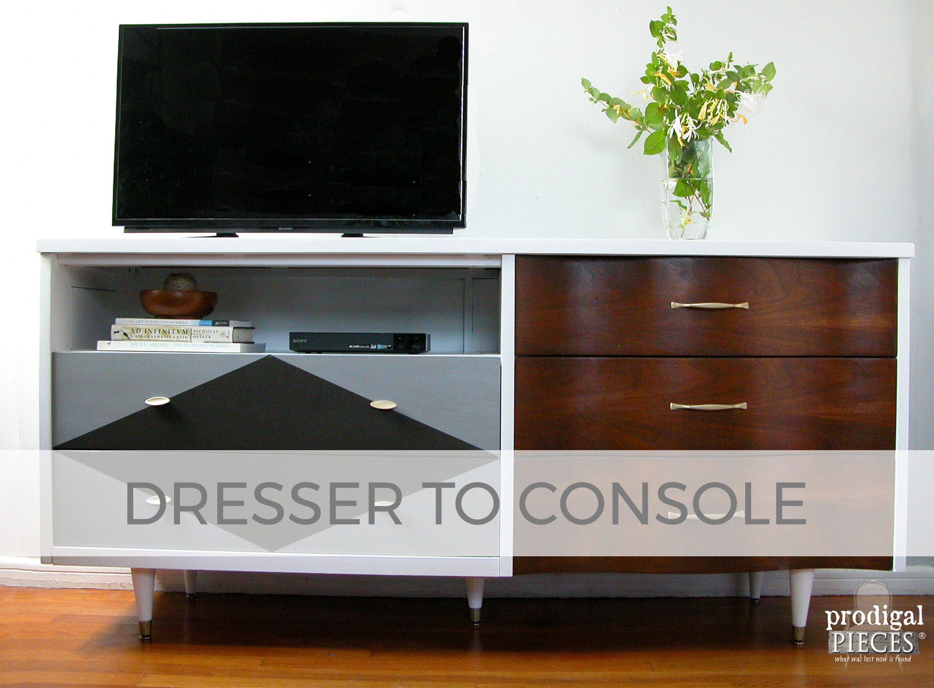 Curbside Dresser turned Entertainment Console by Larissa of Prodigal Pieces | prodigalpieces.com