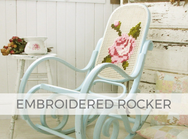 Embroidered Caned Back Bentwood Rocking Chair by Larissa of Prodigal Pieces | prodigalpieces.com #prodigalpieces