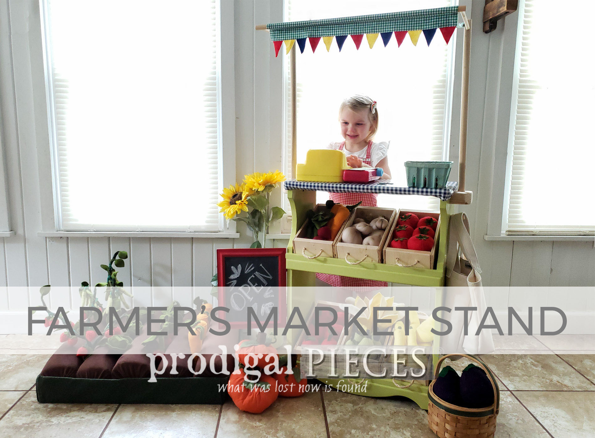 Farmers Market Stand from Upcycled Bookcase by Larissa of Prodigal Pieces | prodigalpieces.com