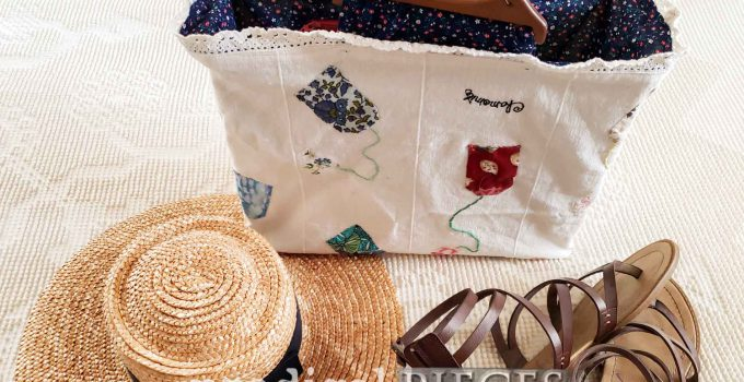 Refashioned Tea Towel Bag with Embroidery