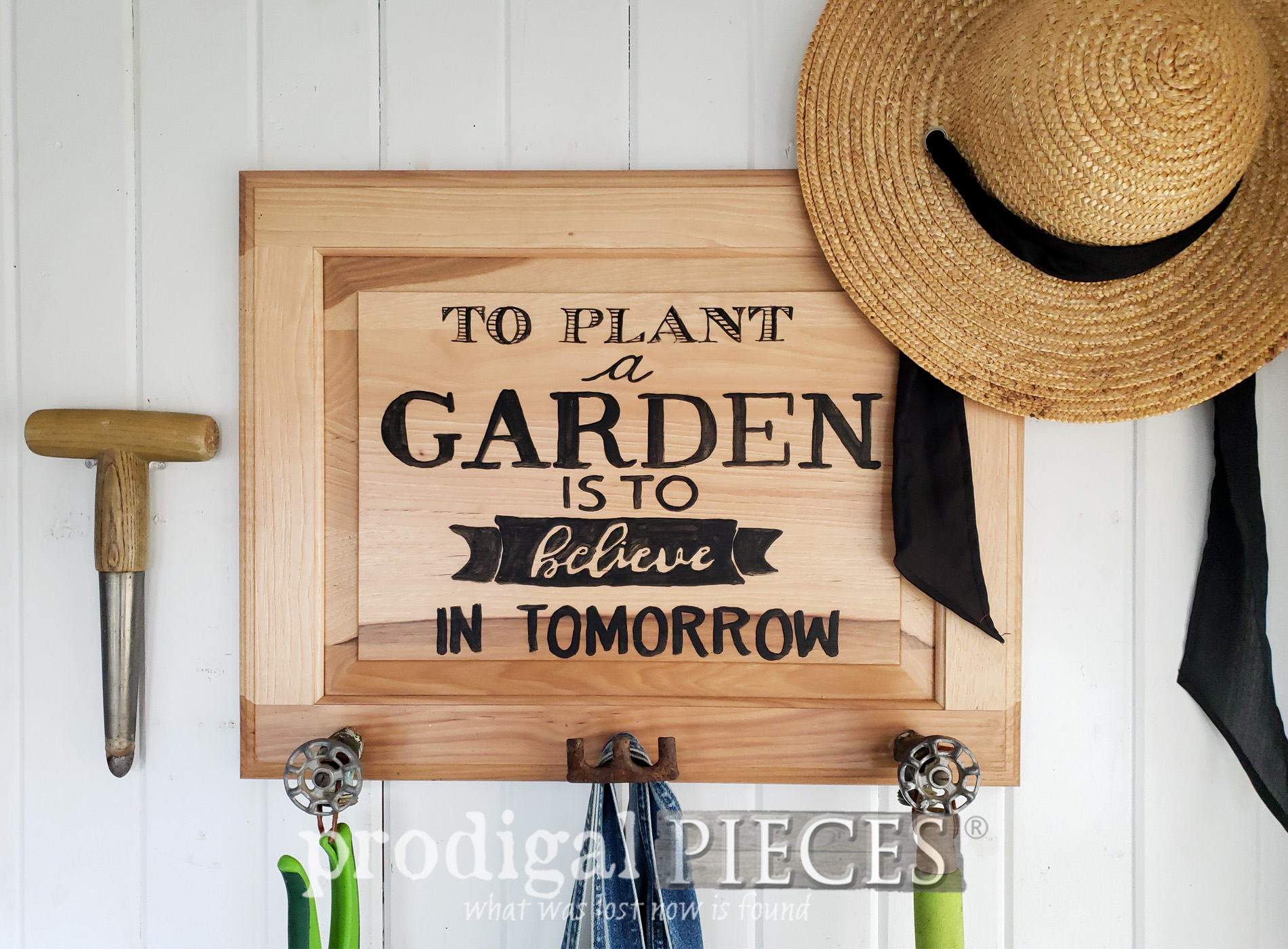 Featured Upcycled Cupboard Door Turned Garden Sign & Coat Rack by Larissa of Prodigal Pieces | prodigalpieces.com #prodigalpieces #garden #spring #farmhouse #diy #home #homedecor