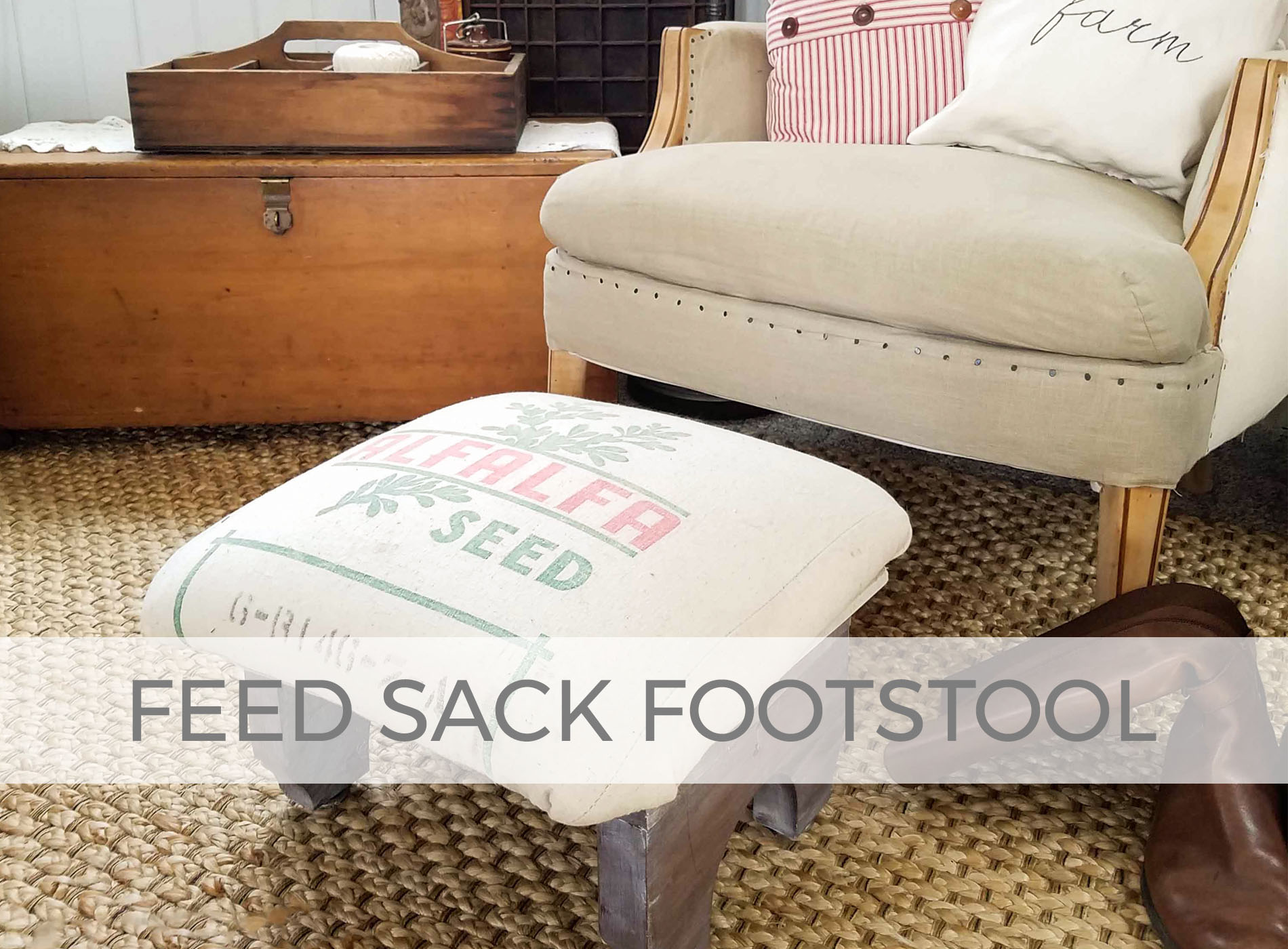 Feed Sack Footstool by Larissa of Prodigal Pieces | prodigalpieces.com
