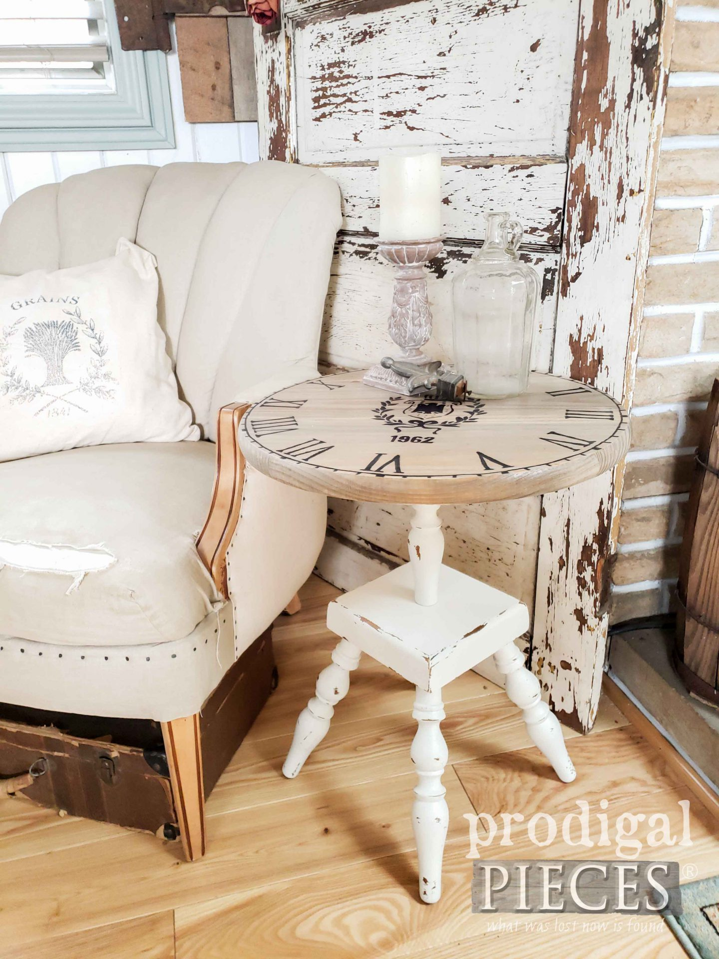 French Chic Upcycled Clock Face Table by Larissa of Prodigal Pieces | prodigalpieces.com #prodigalpieces #farmhouse #furniture #diy #home