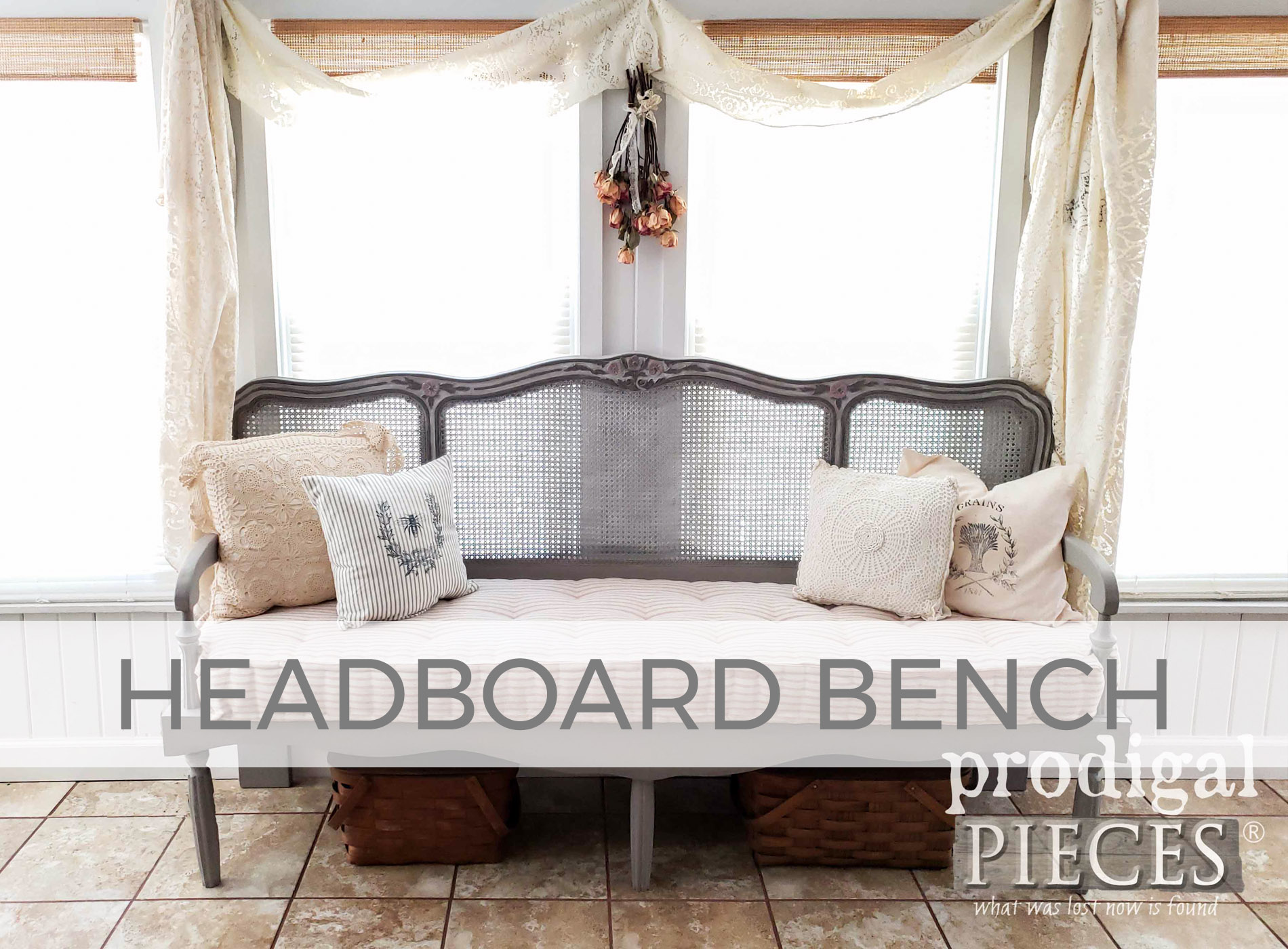 Custom French Provincial Headboard Bench with Tufted French Mattress by Larissa of Prodigal Pieces | prodigalpieces.com