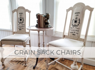 Curbside Caned Chairs get Farmhouse Grain Sack Upholstery by Larissa of Prodigal Pieces | prodigalpieces.com #prodigalpieces