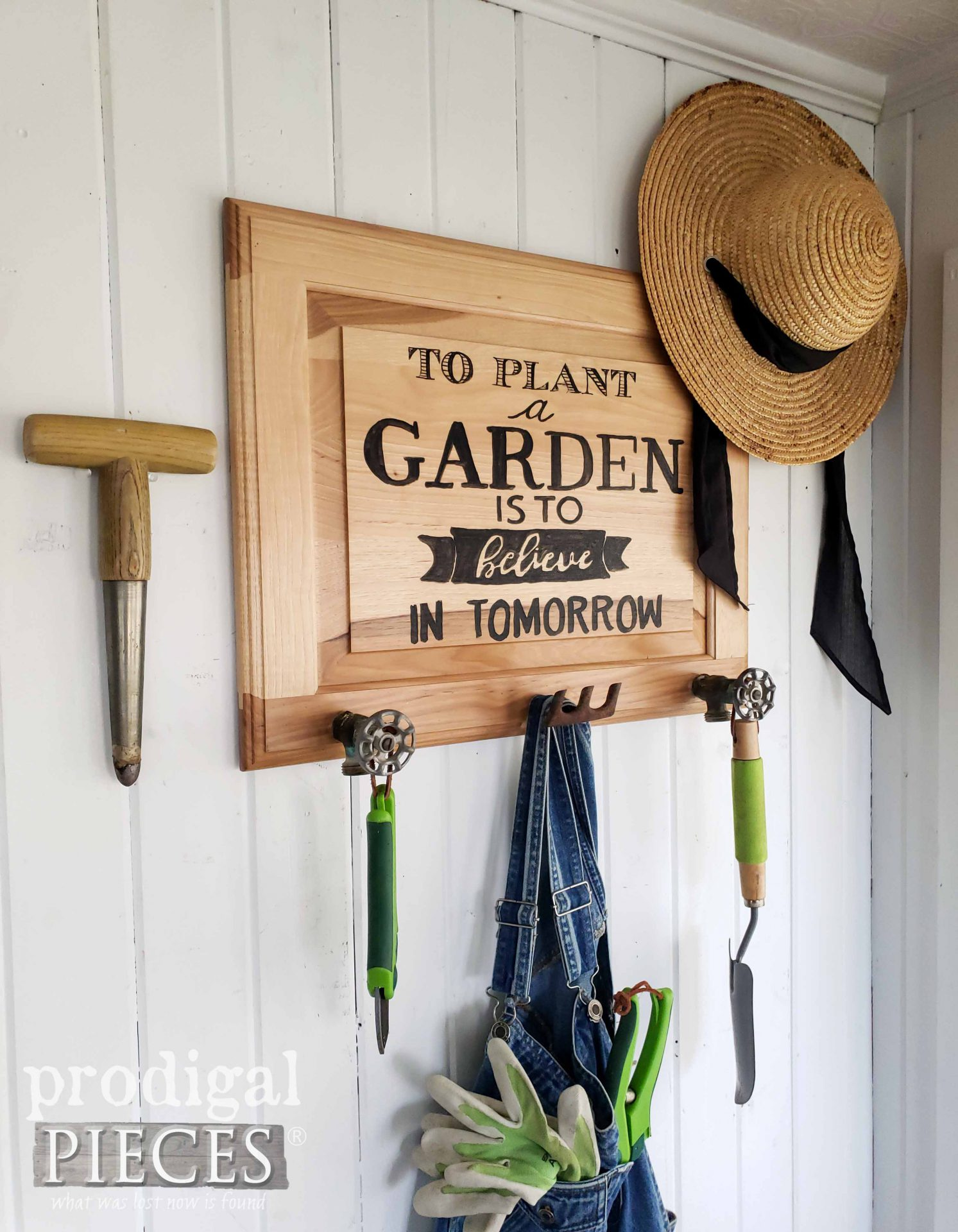 Handmade Garden Sign Coat Rack from Upcycled Cupboard Door by Larissa of Prodigal Pieces | prodigalpieces.com #prodigalpieces #garden #diy #farmhouse