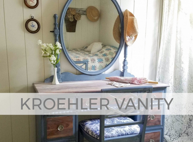 Antique Kroehler Vanity with Oval Mirror in Blue by Larissa of Prodigal Pieces | prodigalpieces.com #prodigalpieces #furniture #farmhouse #cottage #diy #home #homedecor