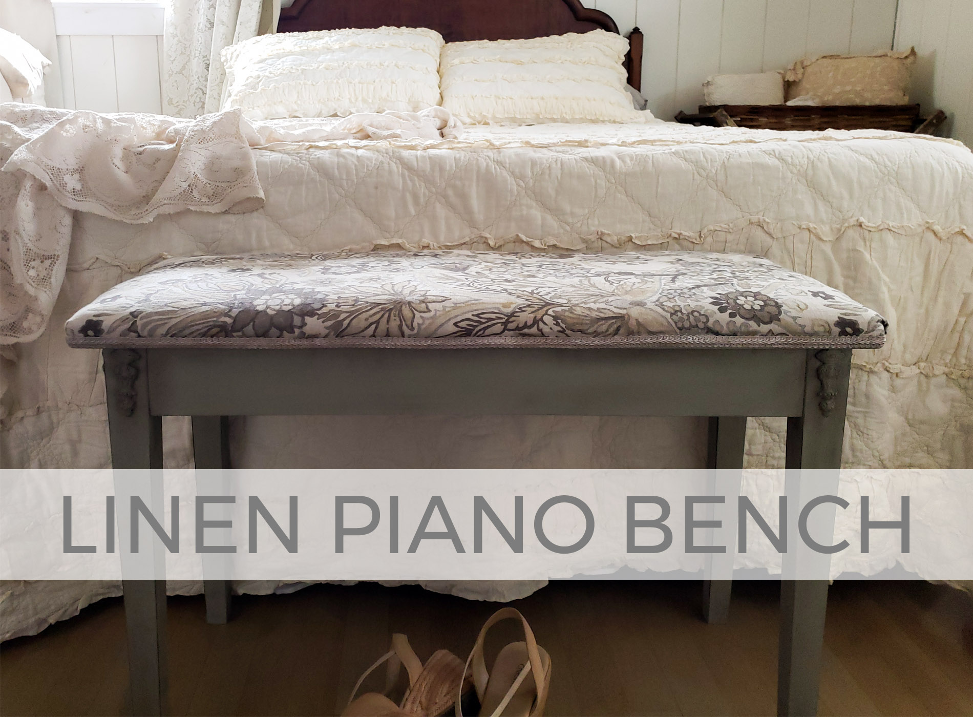 Upholstered Linen Piano Bench by Larissa of Prodigal Pieces | prodigalpieces.com #prodigalpieces