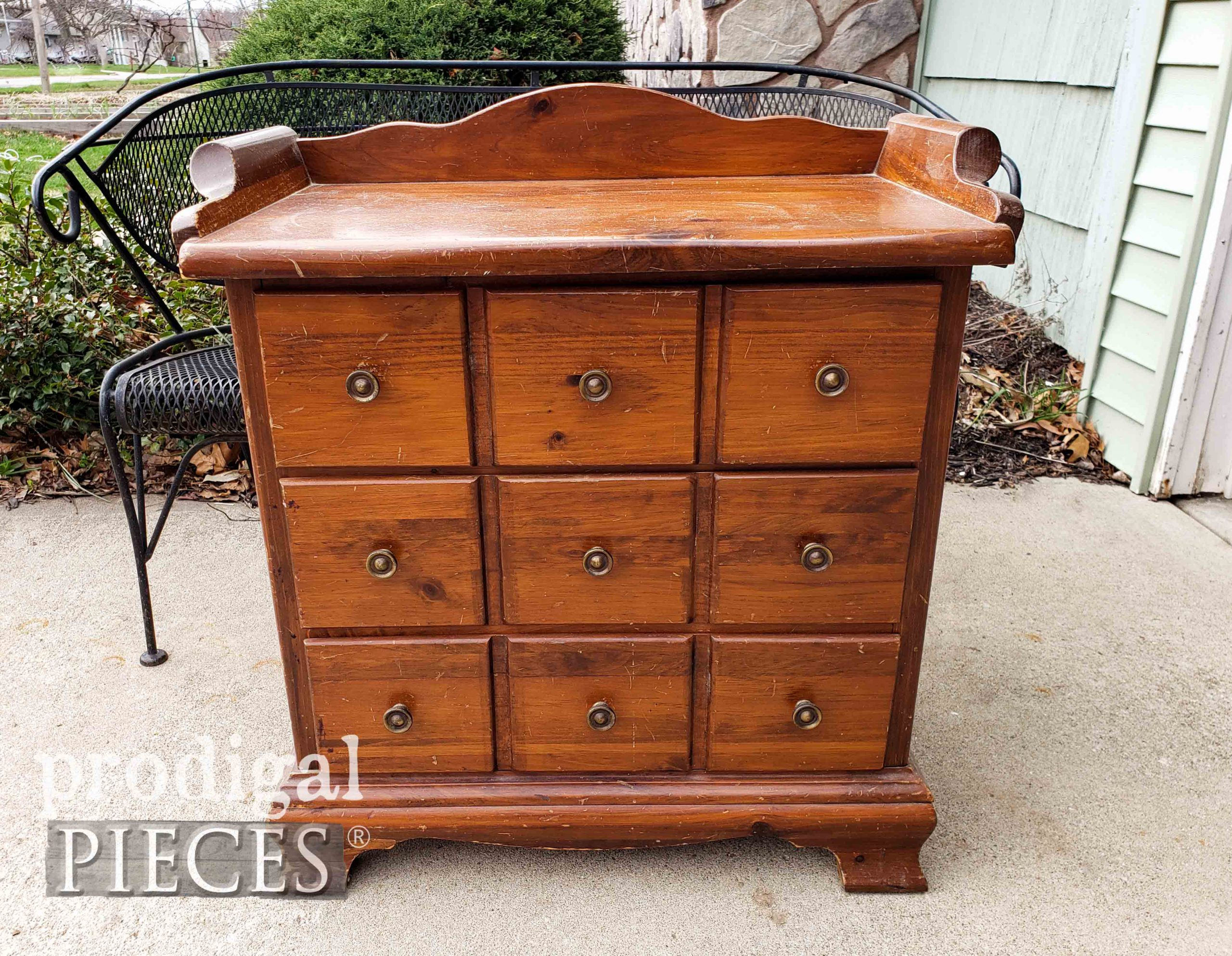 Vintage Farmhouse Chest Nightstand Before by Prodigal Pieces   prodigalpieces.com #prodigalpieces