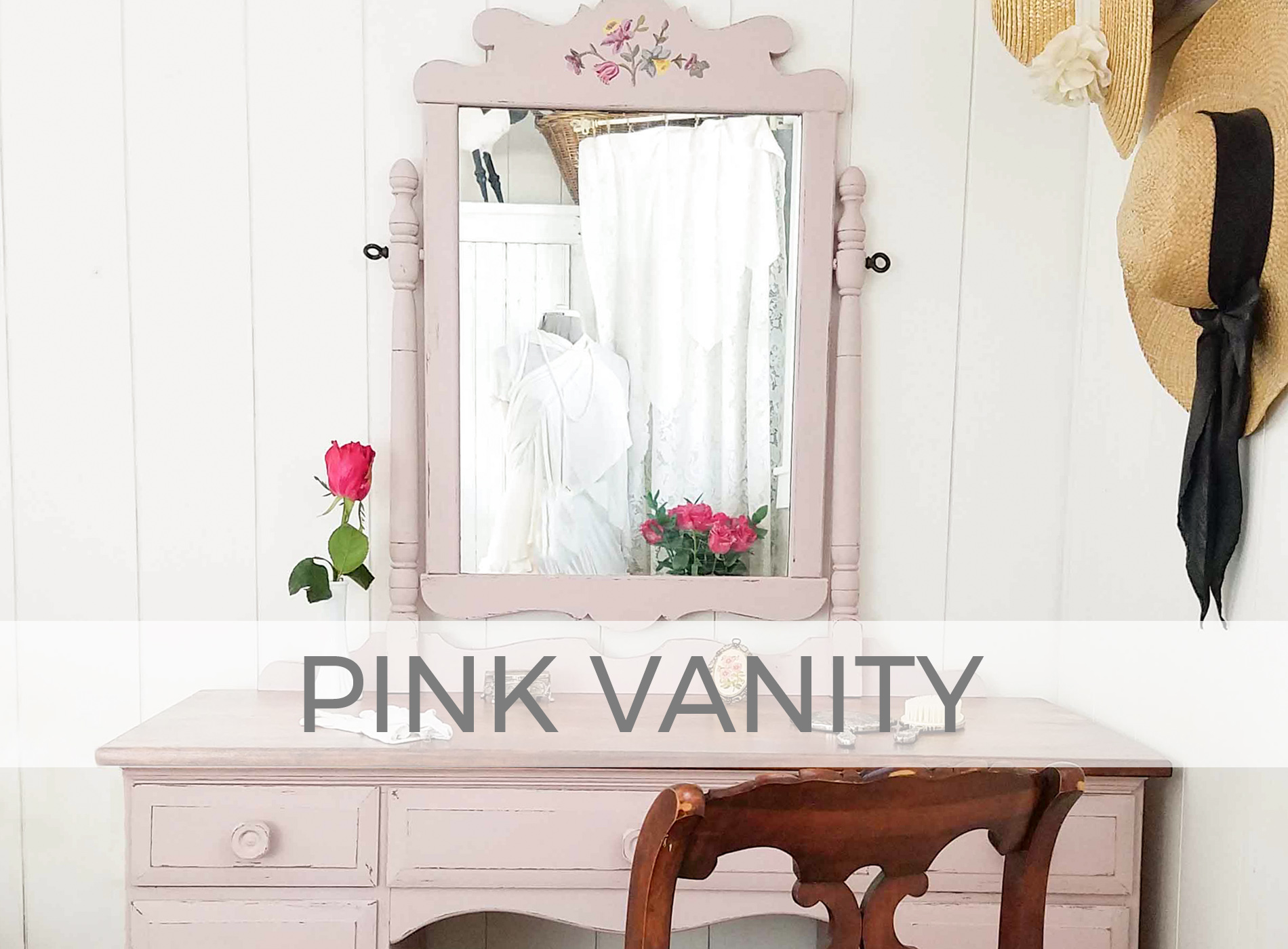 Antique Vanity Finished in a Rose Pink by Larissa of Prodigal Pieces | prodigalpieces.com #prodigalpieces #vanity #furniture #home #farmhouse #cottage #homedecor