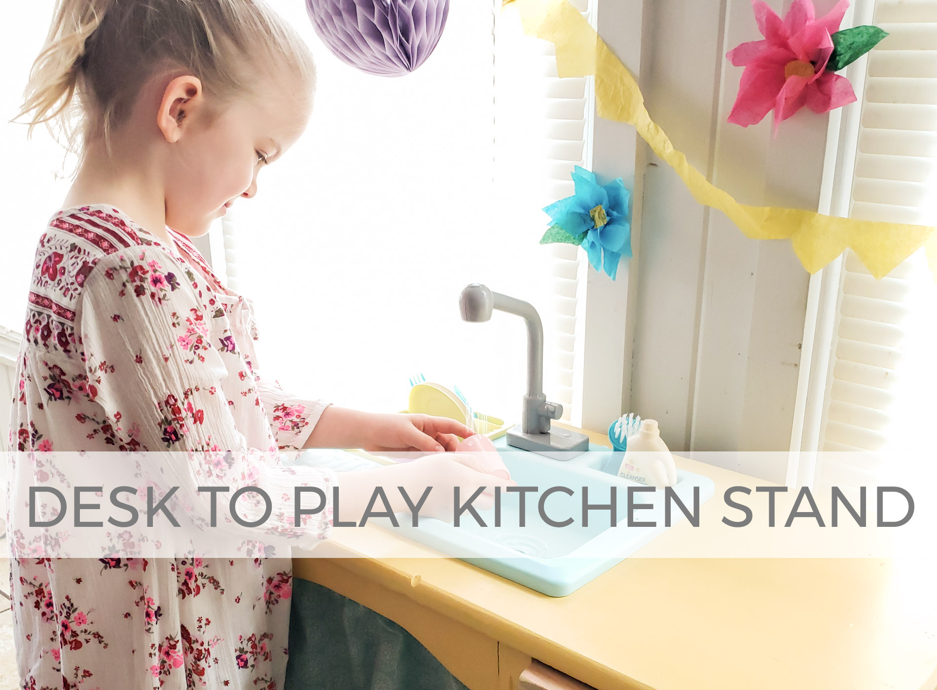 Child's Desk Upcycled into Play Kitchen with Running Water by Larissa of Prodigal Pieces | prodigalpieces.com