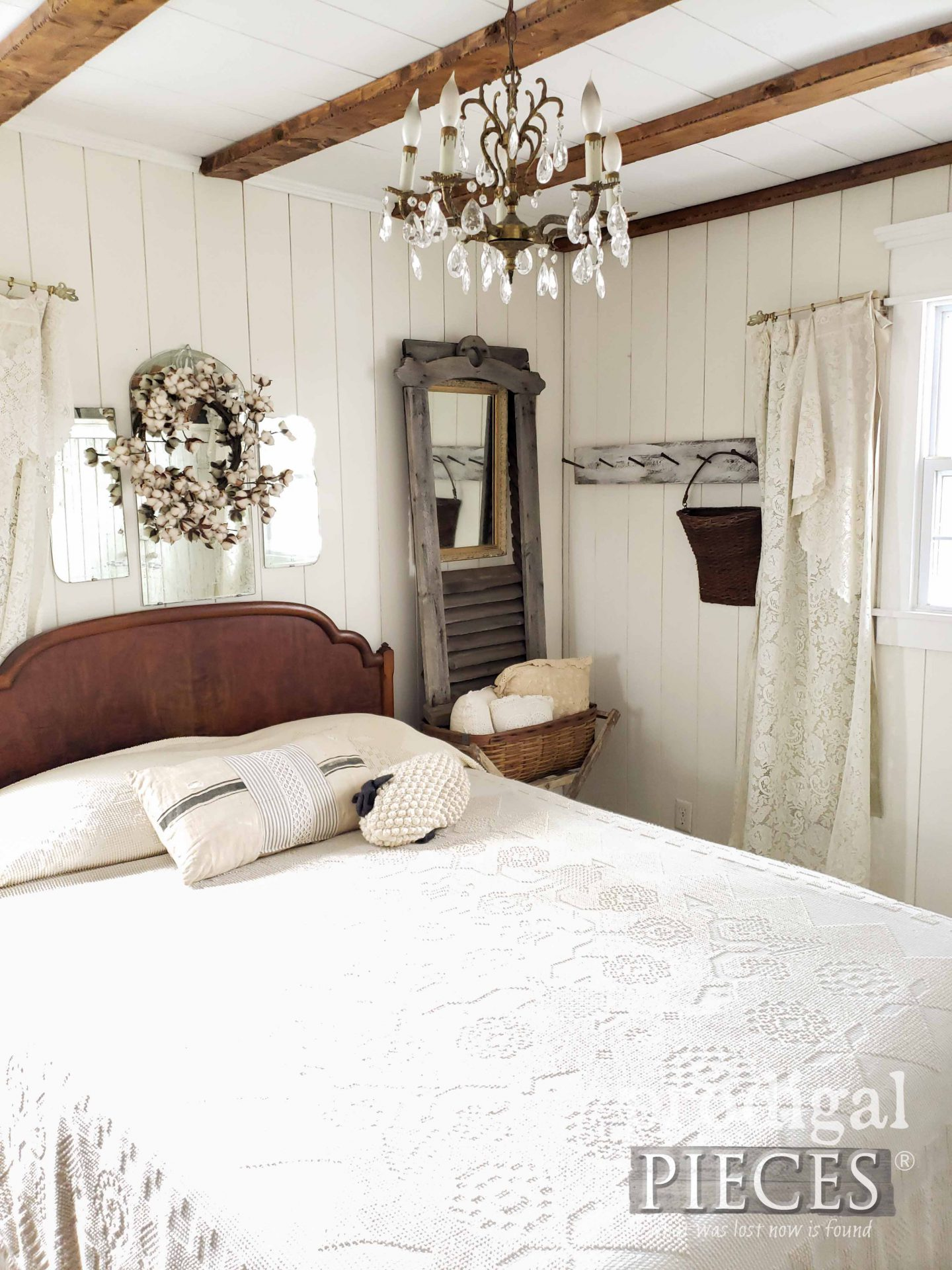Larissa of Prodigal Pieces Farmhouse Bedroom with Architectural Salvage Decor | prodigalpieces.com #prodigalpieces #bedroom #farmhouse #home #homedecor