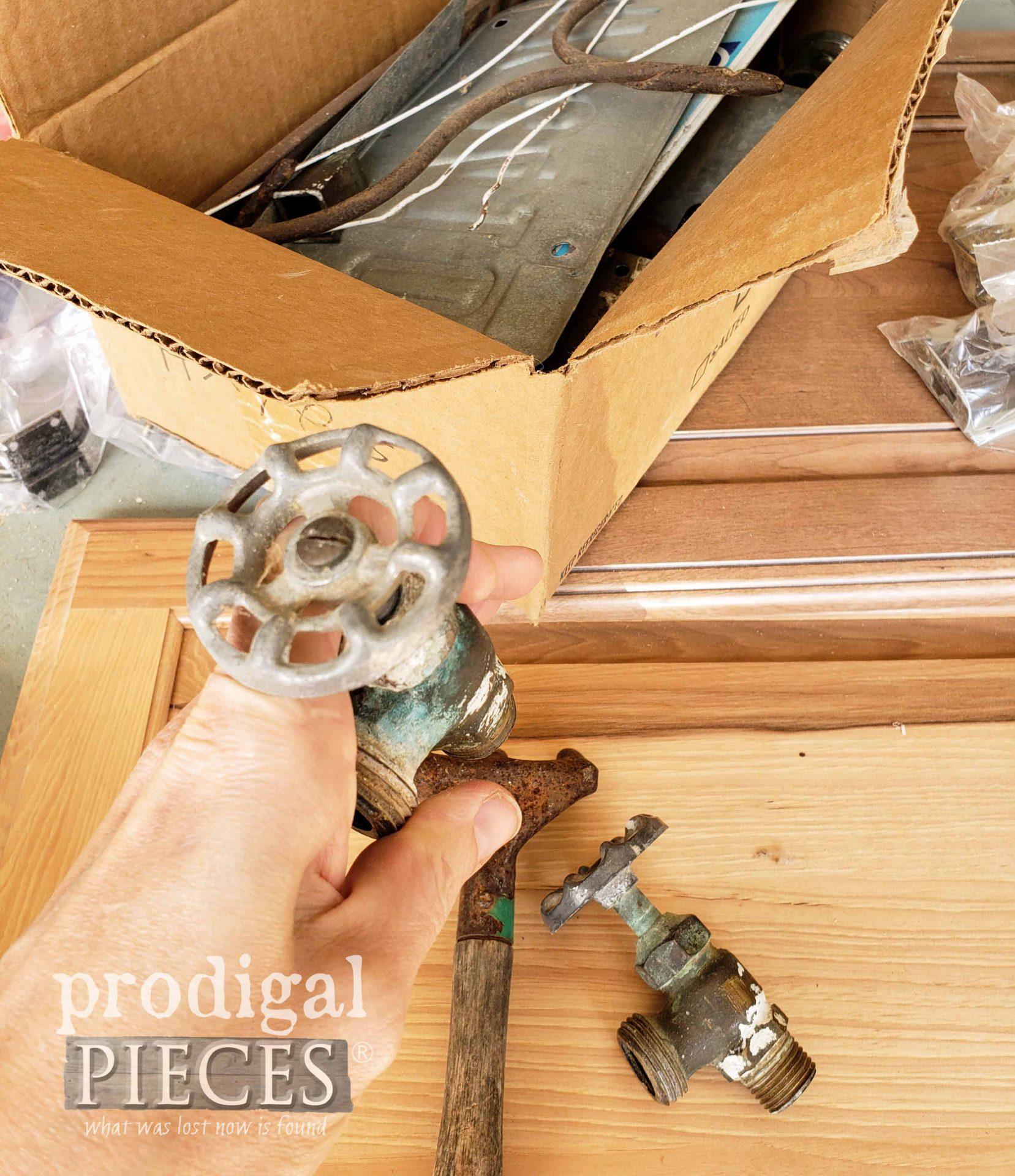 Reclaimed Garden Spigots for Farmhouse Cupboard Door Fun | prodigalpieces.com #prodigalpieces
