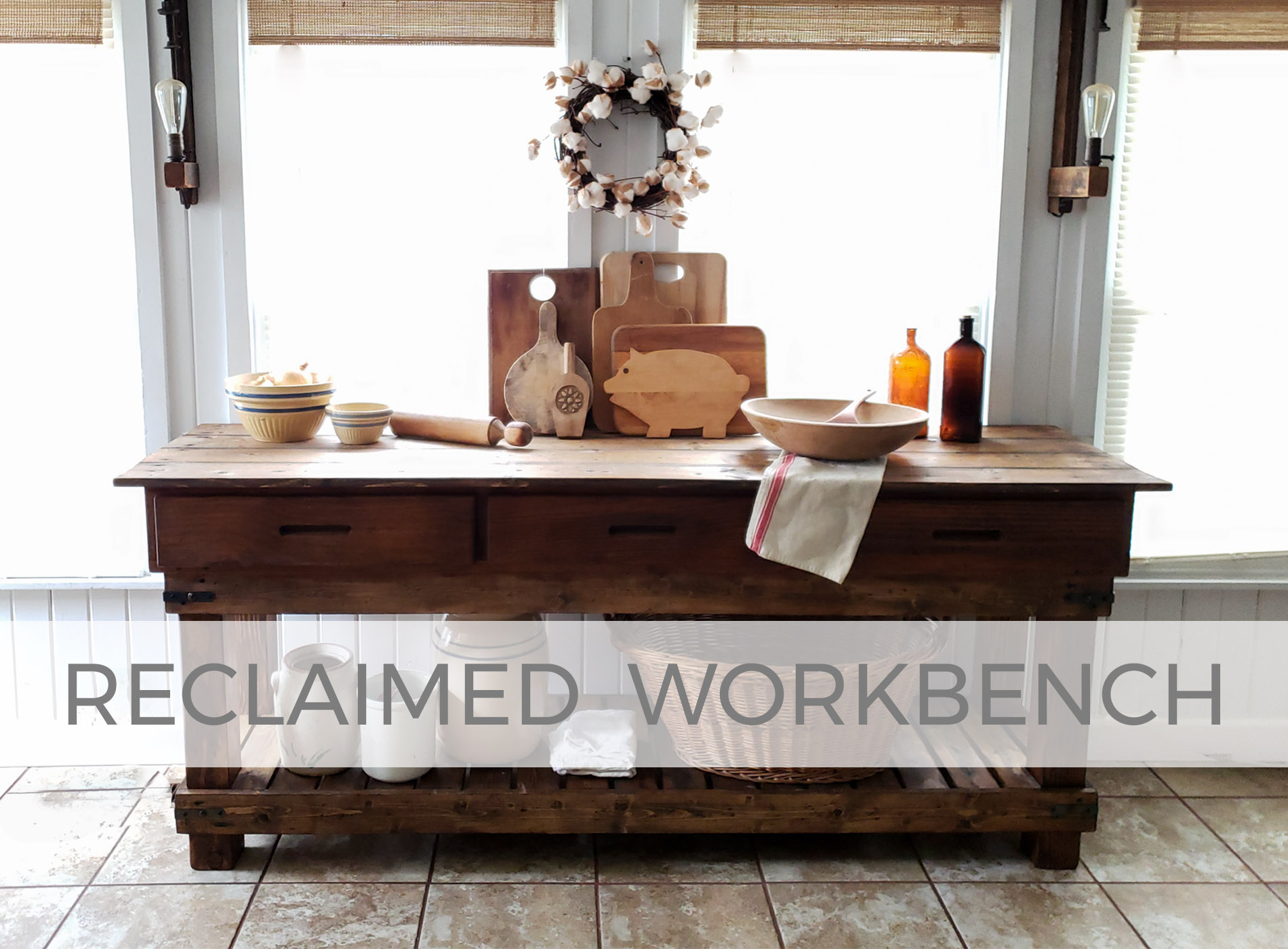 Rustic Farmhouse Reclaimed Workbench built by Larissa of Prodigal Pieces | prodigalpieces.com
