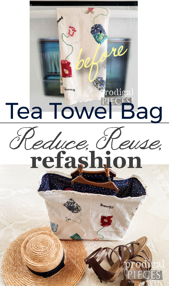 Absolutely adorable refashioned tea towel bag by Larissa of Prodigal Pieces for Reduce, Reuse, REFASHION fun | See more at prodigalpieces.com #prodigalpieces #refashion #fashion #bag #handmade #style #ladies