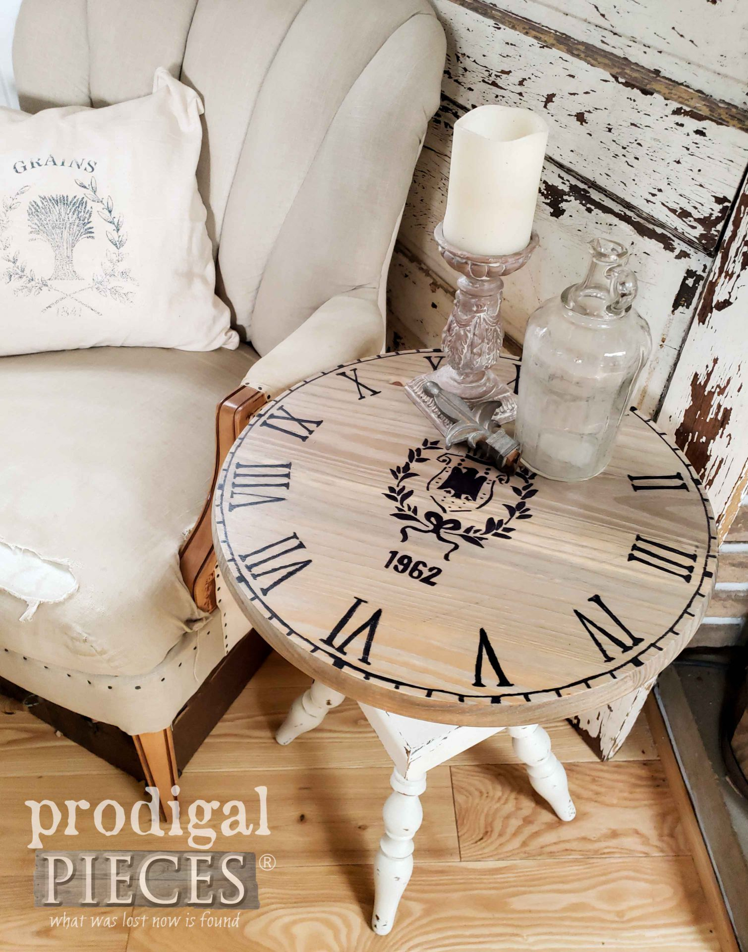 Roman Numeral Upcycled Clock Face Table by Larissa of Prodigal Pieces | prodigalpieces.com #prodigalpieces #upcycled #farmhouse #home #diy #furniture #homedecor