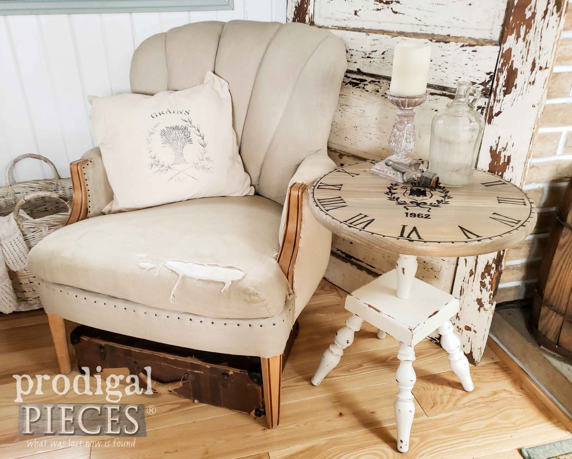 Rustic Chic Living Room with DIY Decor Upcycled Clock Face Table by Larissa of Prodigal Pieces | prodigalpieces.com #prodigalpieces #diy #furniture #home #homedecor