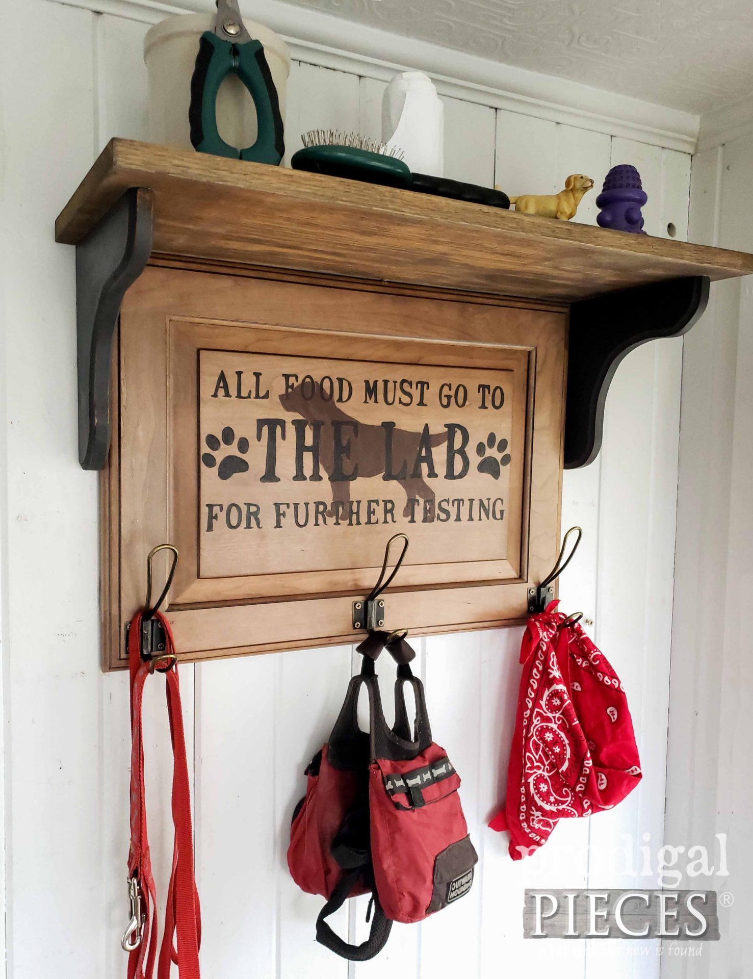Rustic Farmhouse Upcycled Pet Organizer Created by Larissa of Prodigal Pieces | prodigalpieces.com #prodigalpieces #pets #home #organization #farmhouse