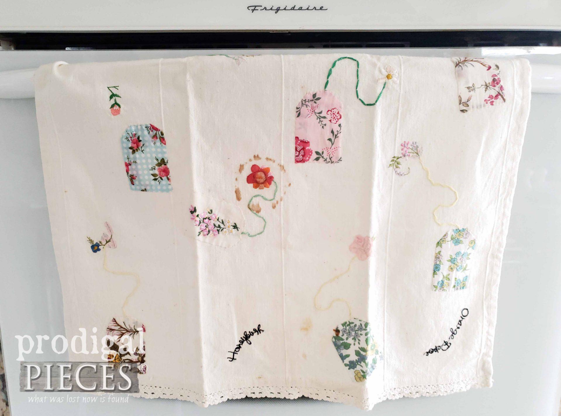 Tea Time Tea Towel Before Refashion by Larissa of Prodigal Pieces | prodigalpieces.com