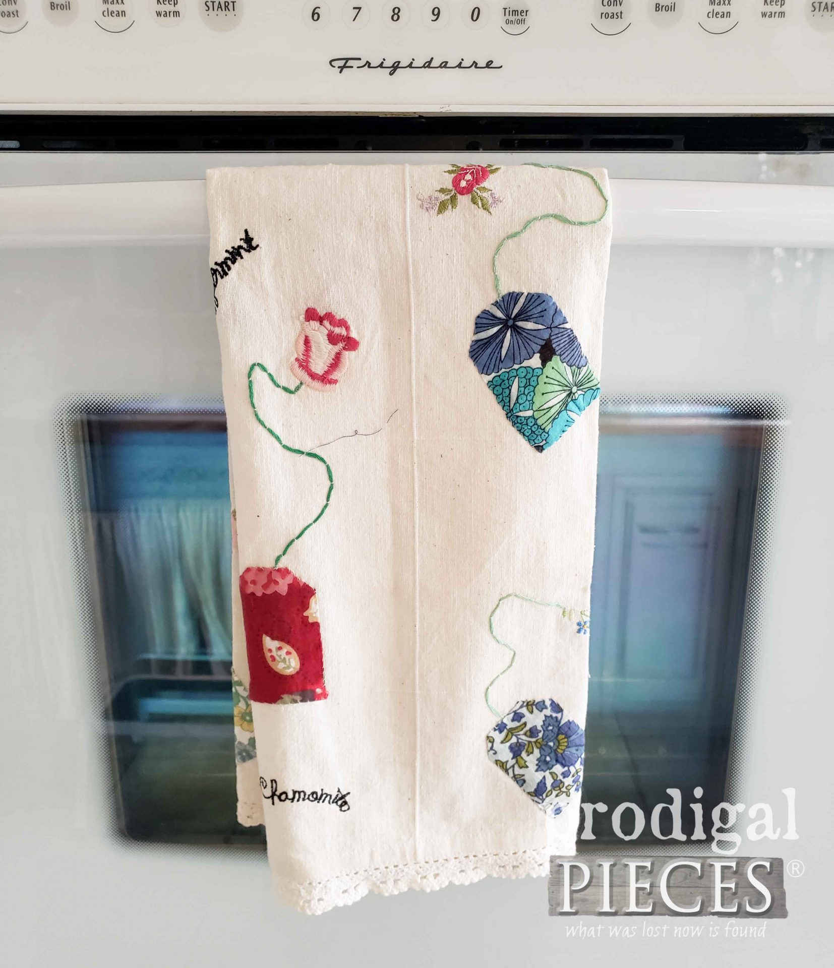 Embroidered Tea Towel Before Refashion by Larissa of Prodigal Pieces | prodigalpieces.com #prodigalpieces