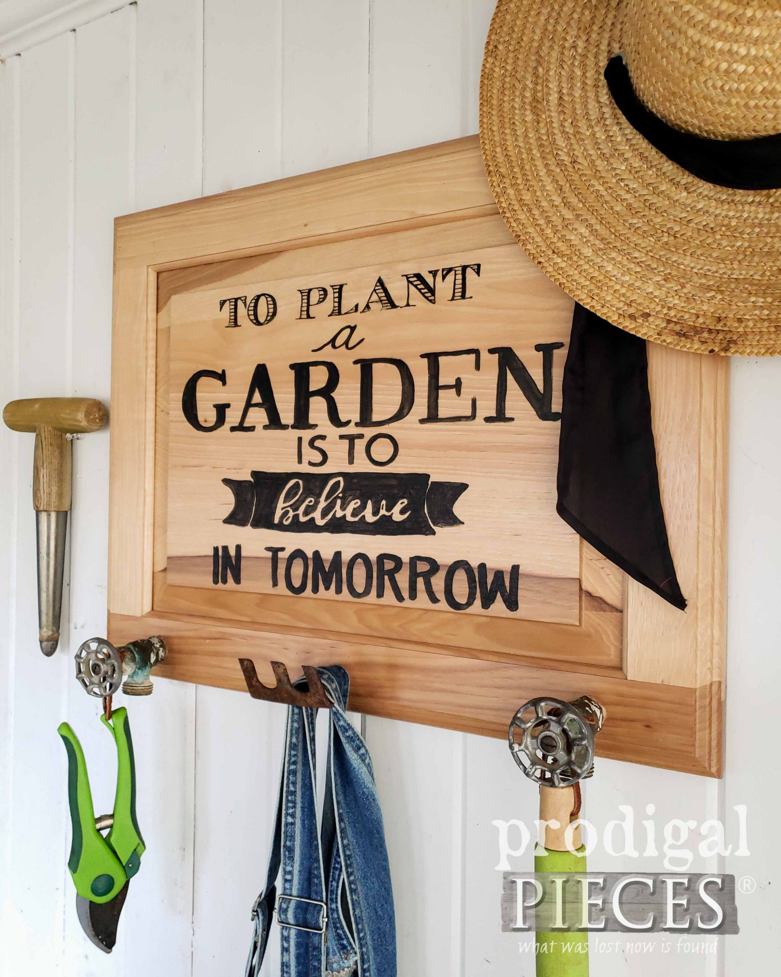 To Plant a Garden Sign Coat Rack from Upcycled Cupboard Door by Larissa of Prodigal Pieces | prodigalpieces.com #prodigalpieces #garden #diy #upcycled