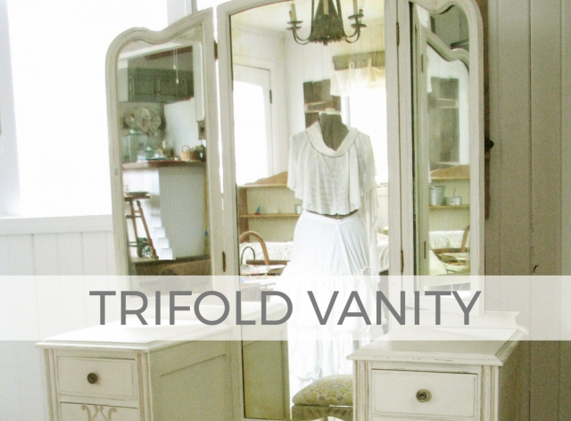 Antique Vanity Dressing Table with Trifold Mirror by Larissa of Prodigal Pieces | prodigalpieces.com #prodigalpieces #furniture #home #diy #homedecor