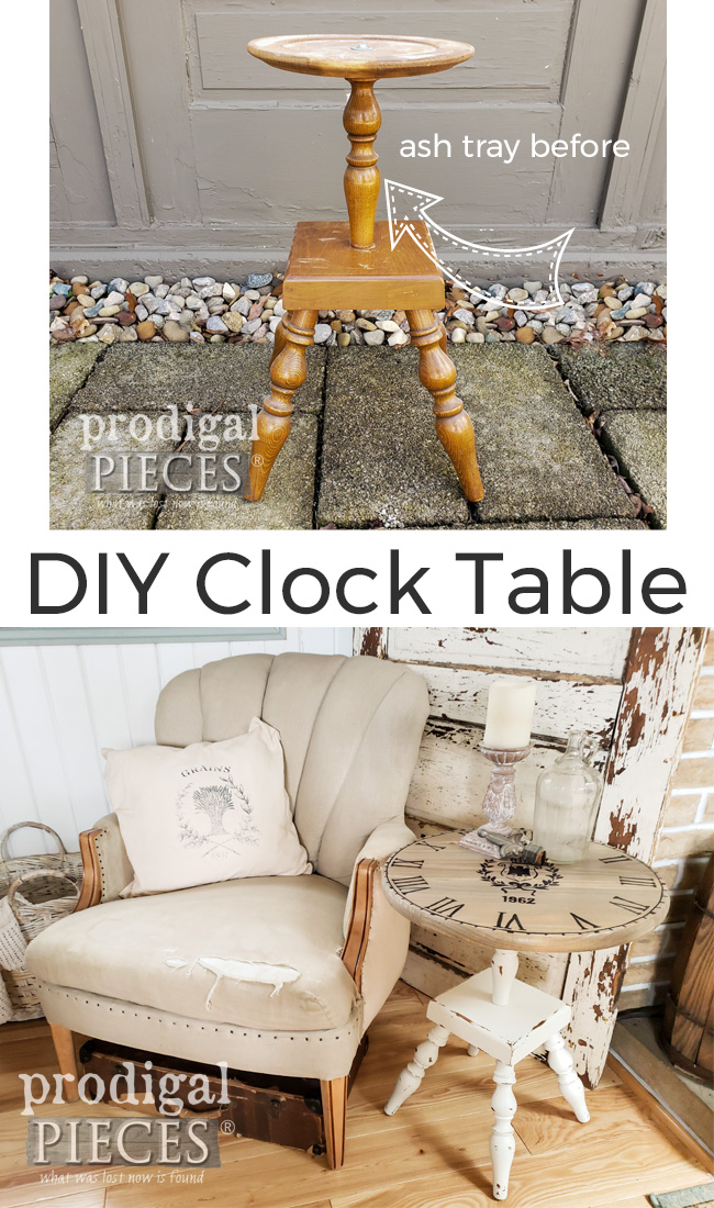 A broken ash tray stand is transformed into an upcycled clock face table with the Quick Finish Sprayer by HomeRight | Video demo at prodigalpieces.com #prodigalpieces #furniture #diy #tools #farmhouse #shabbychic #home #homedecor
