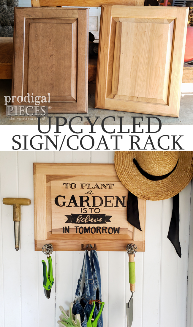 Upcycled Cupboard Door Garden Sign with Coat Rack by Larissa of Prodigal Pieces | prodigalpieces.com #prodigalpieces #farmhouse #garden #upcycled #home #homedecor