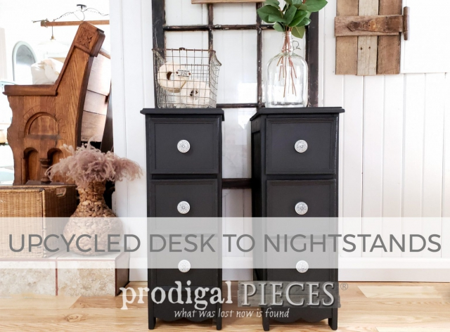 Upcycled Desk to Nightstands Tutorial by Larissa of Prodigal Pieces | prodigalpieces.com #prodigalpieces
