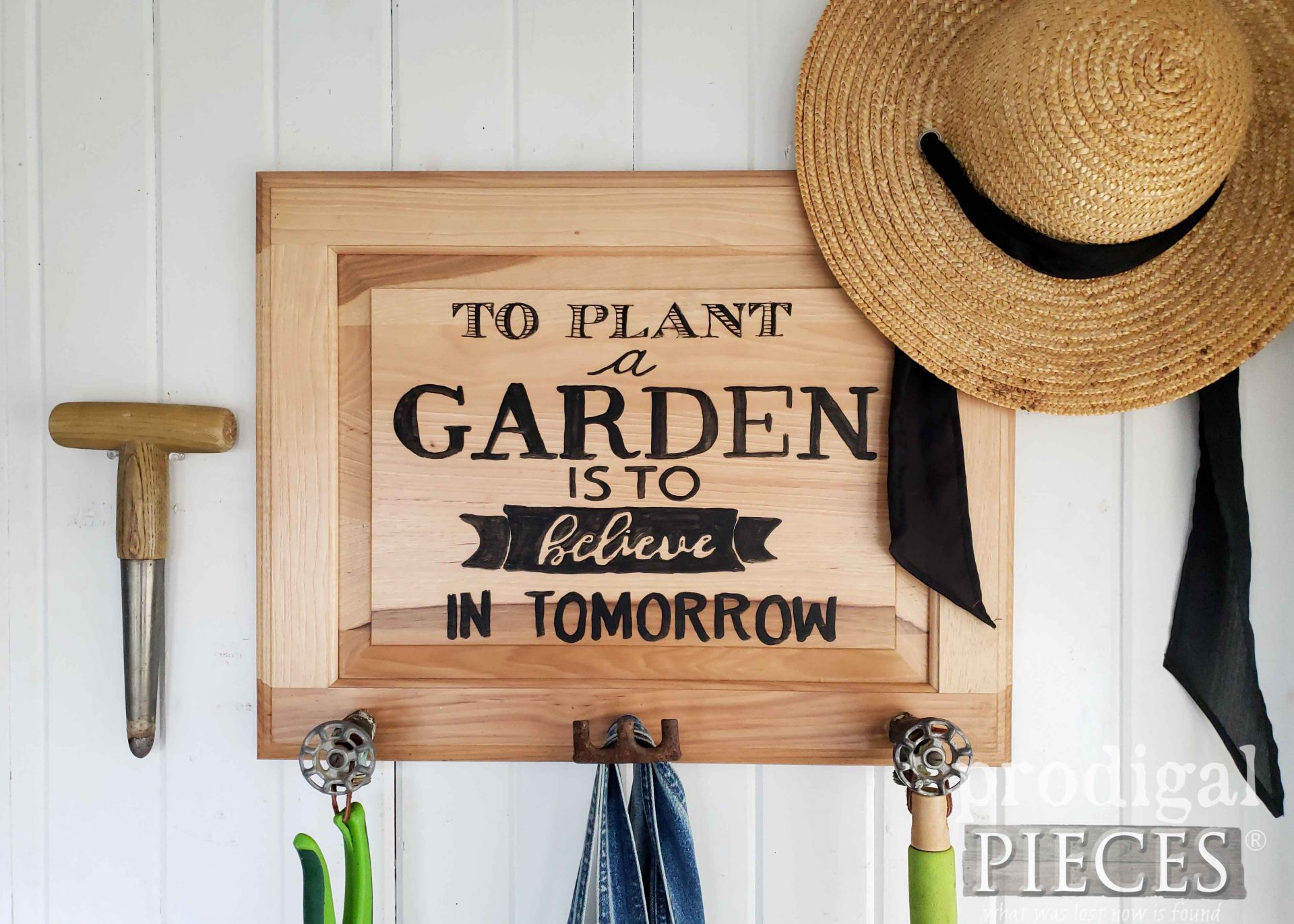 Upcycled Garden Sign Coat Rack by Larissa of Prodigal Pieces | prodigalpieces.com #prodigalpieces #diy #garden #farmhouse #home #homedecor