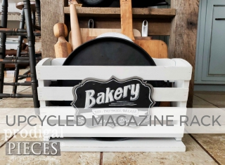 Upcycled Magazine Rack for Kitchen Decor by Larissa of Prodigal Pieces | prodigalpieces.com