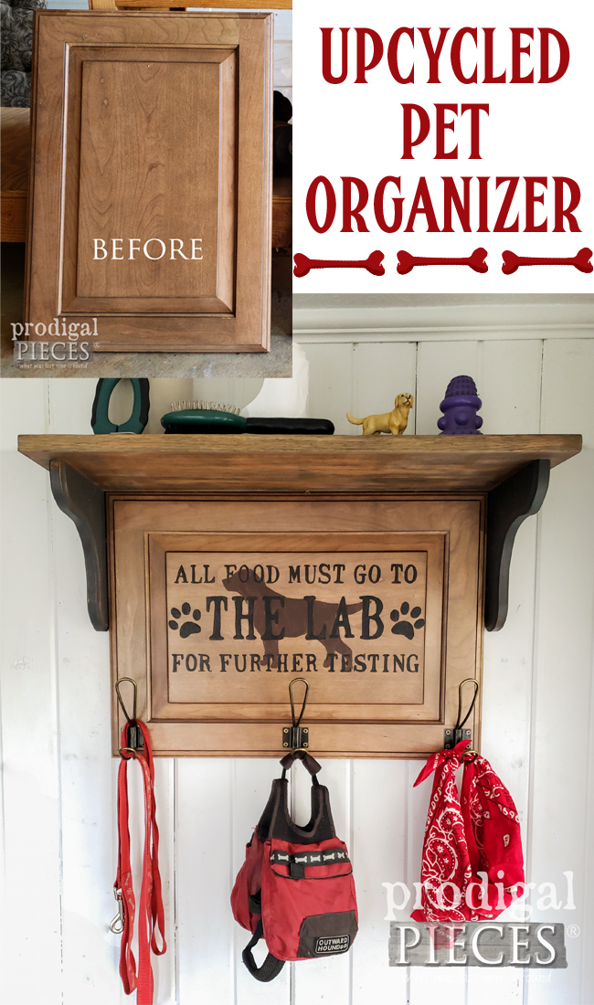 You can create this upcycled pet organizer using a cast-off cupboard door and this tutorial by Larissa of Prodigal Pieces | prodigalpieces.com #prodigalpieces #diy #home #pets #organization #homedecor #farmhouse
