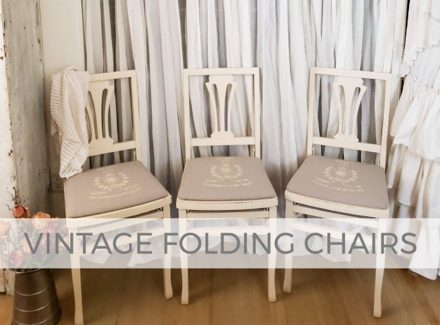 Vintage Folding Chairs with Grain Sack Upholstery by Larissa of Prodigal Pieces | prodigalpieces.com #prodigalpieces