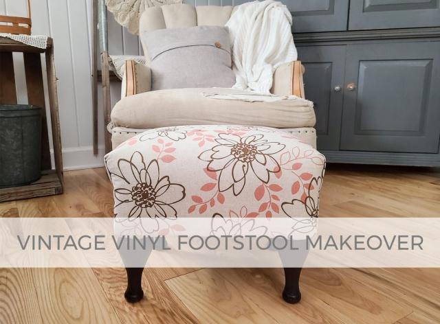 Vintage Vinyl Footstool Makeover by Larissa of Prodigal Pieces | prodigalpieces.com #prodigalpieces #furniture