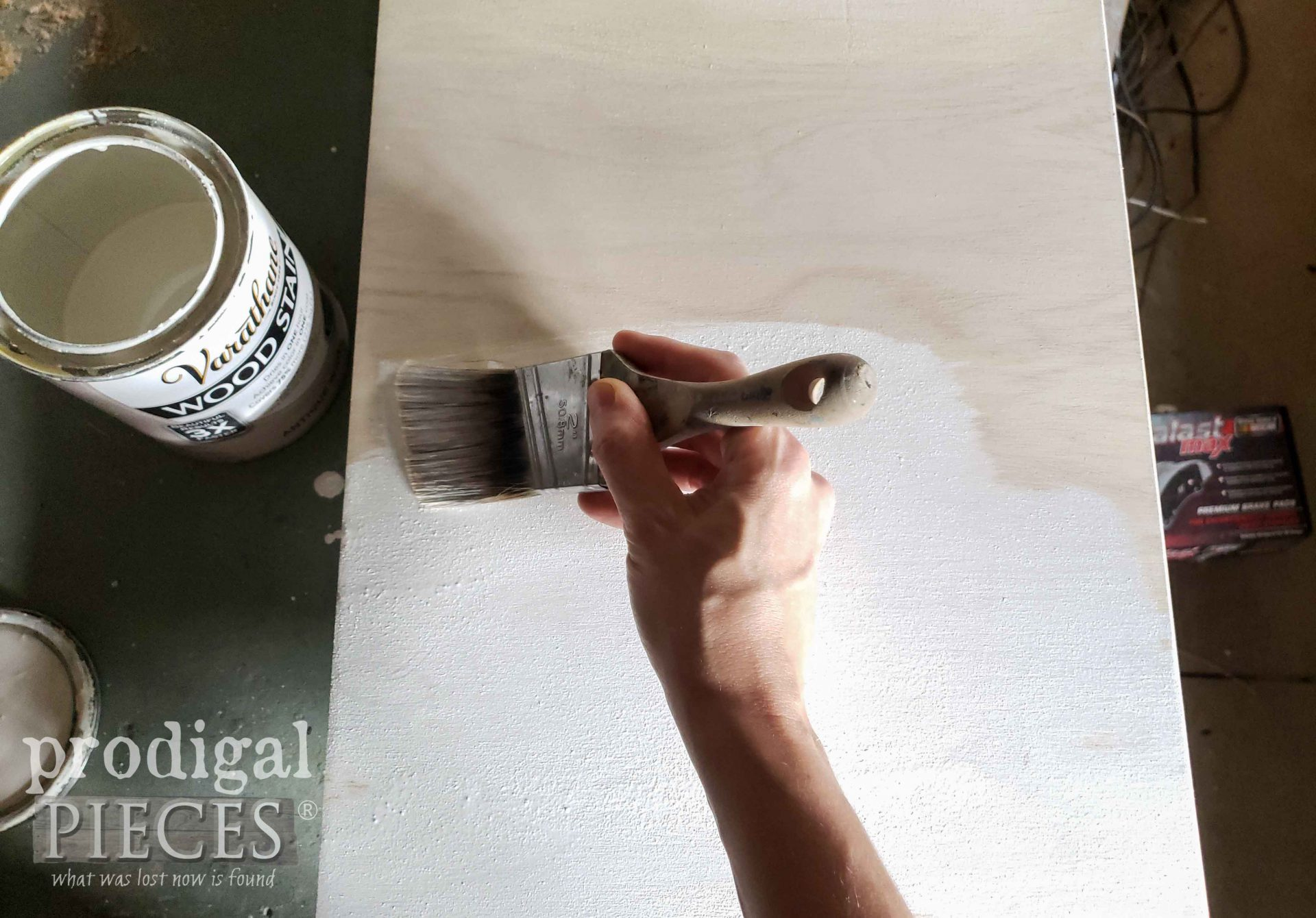 Antique White Stain for Cupboard Shelves with Zibra Paint Brush by Larissa of Prodigal Pieces | prodigalpieces.com