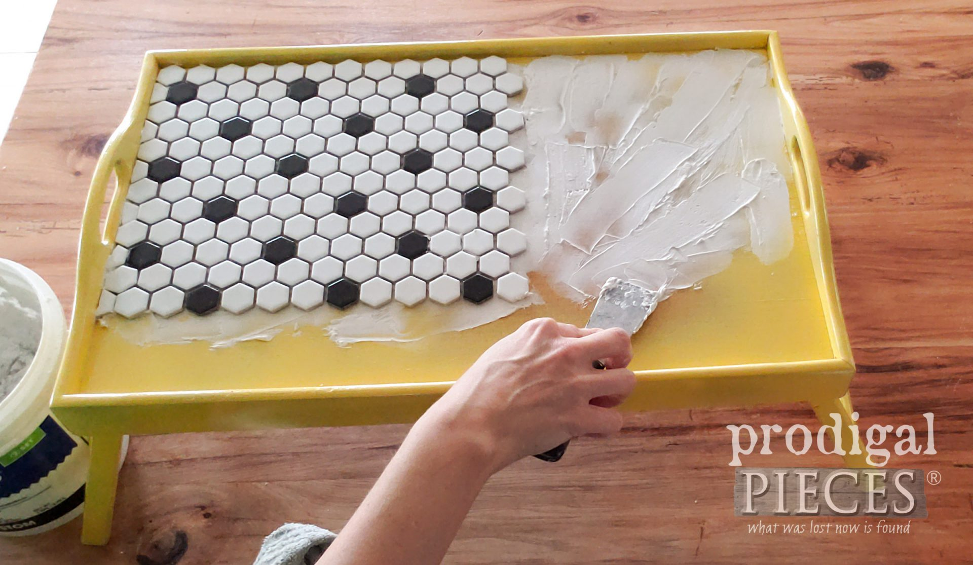 How to Apply Tile Adhesive to DIY Tiled Tray | prodigalpieces.com