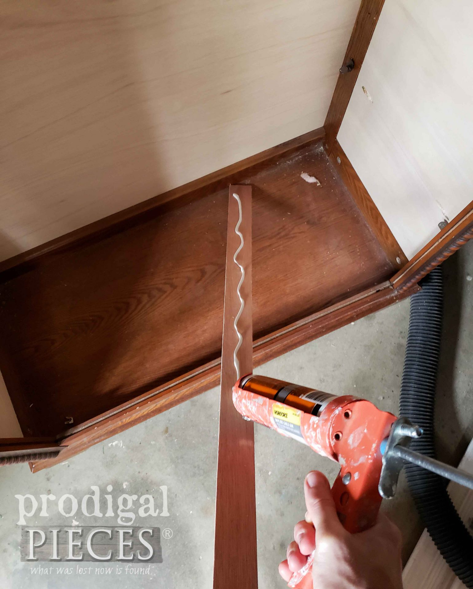 Applying Glue to Strips of Wood for Repurposed Curio by Larissa of Prodigal Pieces | prodigalpieces.com