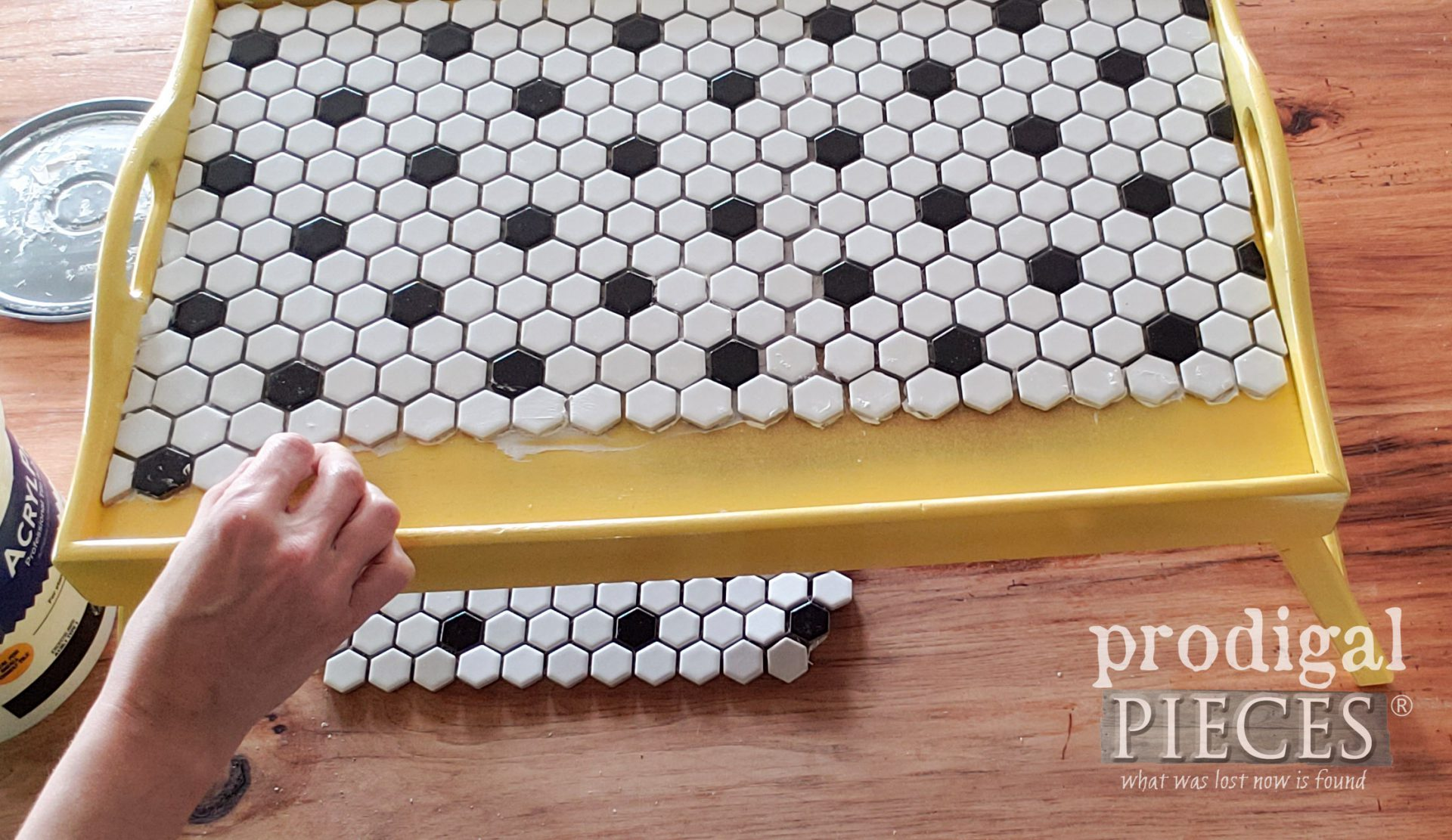 Applying the Tile to DIY Tiled Tray by Larissa of Prodigal Pieces | prodigalpieces.com