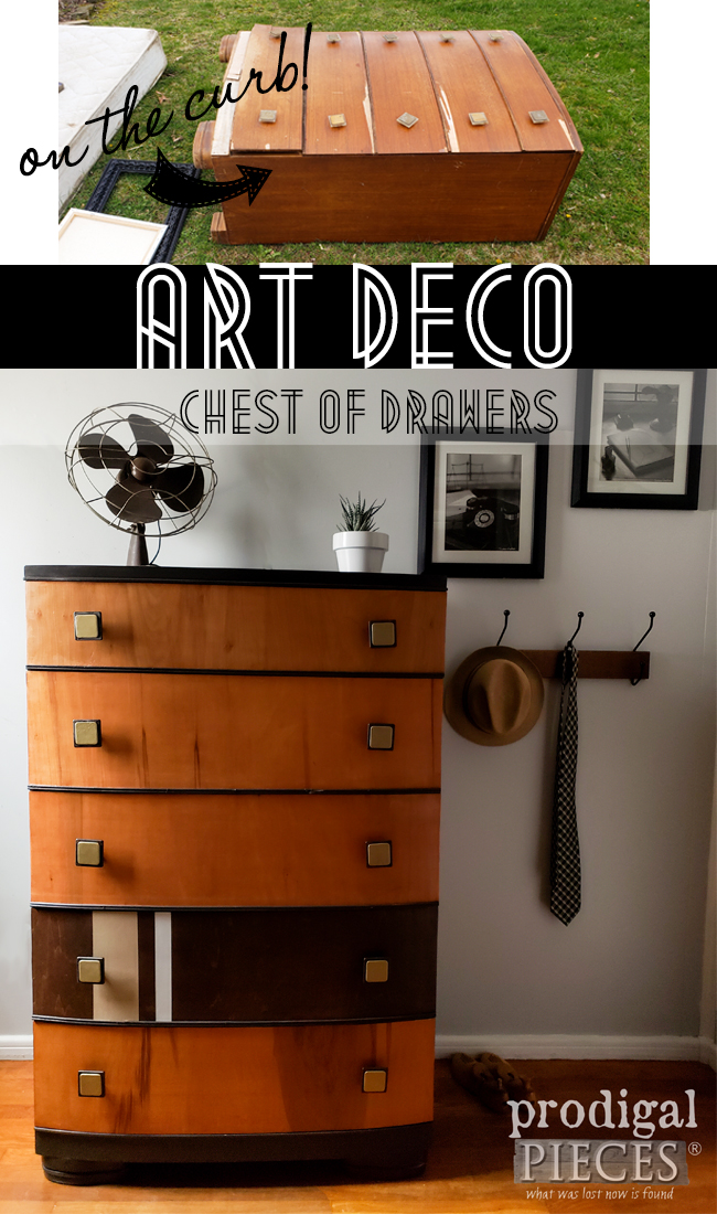 A curbside Art Deco chest of drawers was left for trash, but Larissa of Prodigal Pieces saw potential | Details here at prodigalpieces.com #prodigalpieces #furniture #artdeco #vintage #diy #home #homedecor