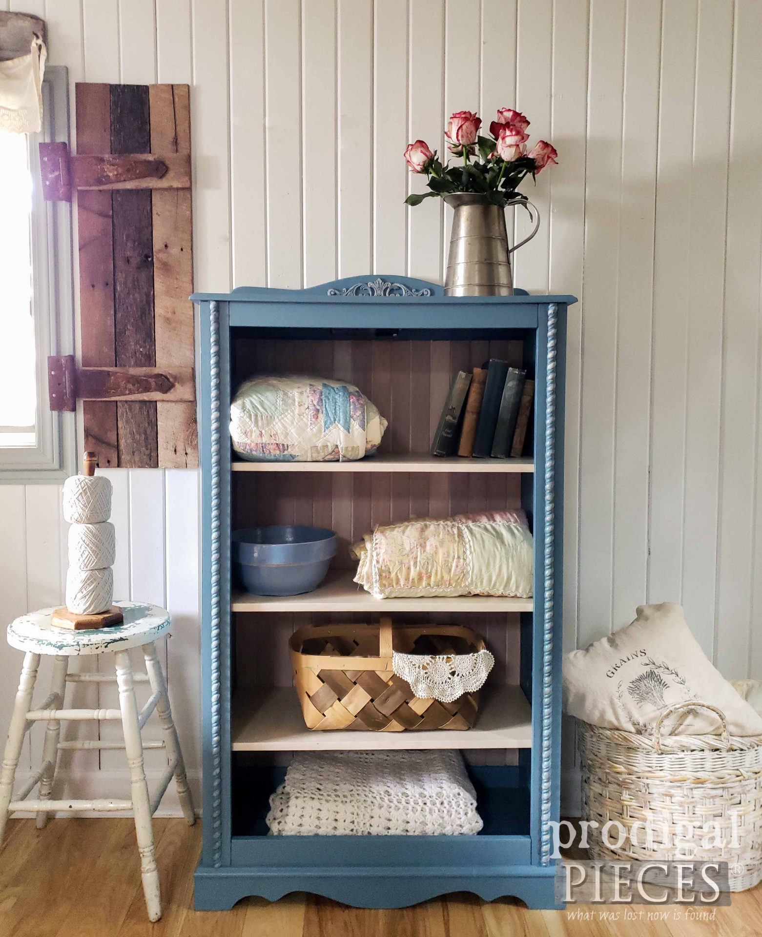 Beautiful Blue Cottage Cabinet from Upcycled Curio by Larissa of Prodigal Pieces | prodigalpieces.com #prodigalpieces #furniture #diy #home #homedecor #upcycled